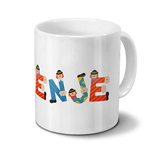 Tasse mit Namen Enje - Motiv Holzbuchstaben - Namenstasse, Kaffeebecher, Mug, Becher, Kaffeetasse - Farbe Weiß