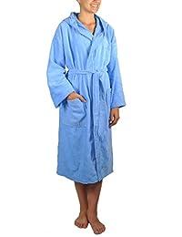 Atrivm Aurea Plus - Albornoz con capucha de terciopelo, 100% algodón, color Azul Cielo, talla M