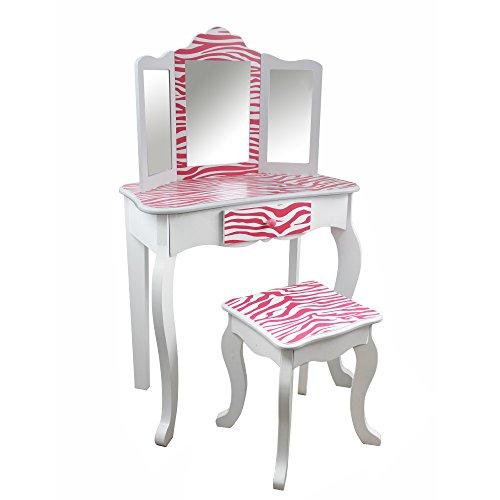 Teamson Kids TD-11670B Schminktisch mit Hocker Fashion Prints Zebra - Frisiertisch für Kinder, mehrfarbig (Chippendale Stuhl)