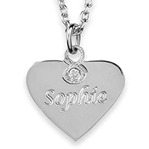 Hals-Kette echt Silber 925 mit Gravur – Herz Namenskette, Geschenke für Mädchen zur Geburt Taufe Kommunion