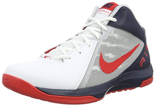 Nike The Air Overplay IX, Herren  Basketballschuhe, Weiß (White/University Red-Obsidian-Pure Platinum), 44 EU (9 UK)