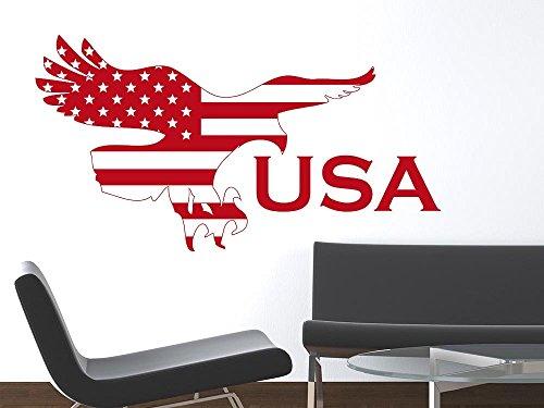 Wandaufkleber Tattoo Wanddeko Deko für Wohnzimmer Spruch USA Adler Flagge (56x30cm // 820 mustard)