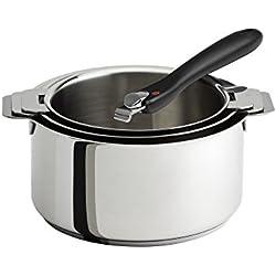 Cristel S3CQTPNC Série de 3 casseroles inox MUTINE + 1 poignée amovible backélite noire Coccinelle