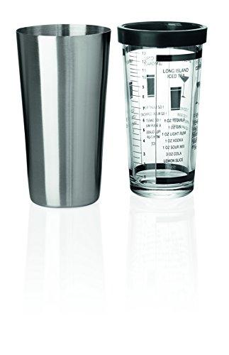 Boston-Shaker aus Chromnickelstahl - inkl. Mixing-Glas mit Gummiring, 5 Cocktailrezepte auf Mixing-Glas beschriftet und Maßeinteilung bis 390 ml, PREMIUM-QUALITÄT / Inhalt: 0,60 ltr., Höhe: 30 cm -