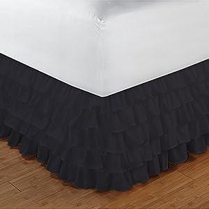 RoyalLinens EU Single 300TC 100% Egyptian Cotton Elephant Grey Solid Elegant Finish 1PCs Multi Ruffle Bedskirt Solid (Drop Length: 16 inches)