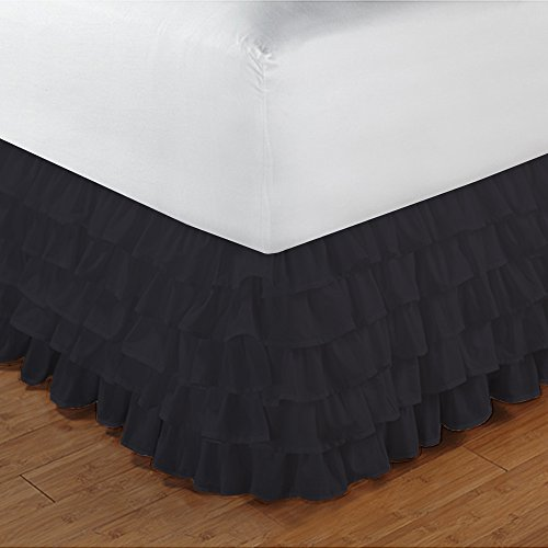 600TC 100% cotone egiziano, finitura elegante 1pcs multi Ruffle Giroletto A Goccia (lunghezza: 19cm), Cotone, Chocolate Solid, UK_Super_King Elephant Grey Solid
