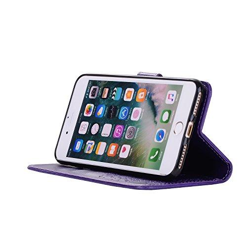 Custodia iPhone 7 Plus, iPhone 8 Plus Cover Portafoglio, SainCat Custodia in Pelle Cover per iPhone 7/8 Plus, 2 in 1 Ultra Sottile Anti-Scratch Book Style Custodia Morbida Cover Protettiva Cover Ultra Porpora