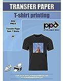PPD A4 Carta Trasferibile Termoadesiva Per Stampanti A Getto D'Inchiostro Inkjet - T-Shirt E Tessuti Di Colore Scuro x 10 Fogli - PPD-4-10