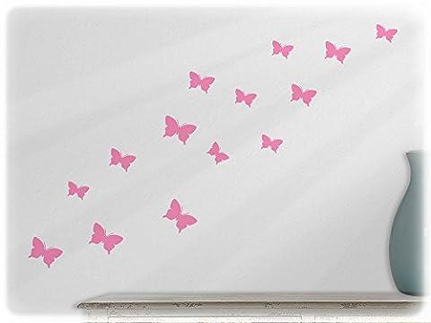 wallfactory - wall decal - 15 great Butterflies (S2XS) in soft pink