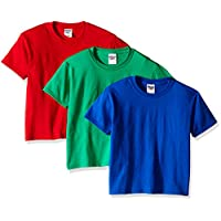 Jerzees Youth 3-Pack Crew Tee Shirt, Royal/True Red/Kelly, X-Large