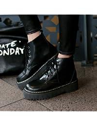 &ZHOU Botas otoño y del invierno botas cortas mujeres adultas 'cargadores de Martin Knight botas a25 , black , 39