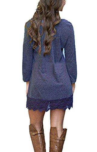 Autunno Inverno Donna Maglione Collo Rotondo Sciolto Sottile Mini Casuale Lungo Maglietta Vestito in Pizzo Orlo Lunga Abito Bluse Abiti Camicie Pullover Tops Porpora