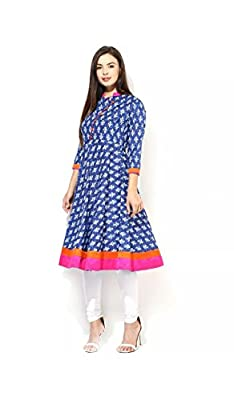 AnjuShree Choice Women's Cotton Blue Printed Stitched Anarkali Kurta Kurti - Blue Care: Wash with good detergent but only in machine