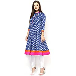 AnjuShree Choice Women's Cotton Blue Printed Stitched Anarkali Kurta Kurti (X-Large)