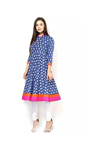 AnjuShree-Choice-Womens-Cotton-Blue-Printed-Stitched-Anarkali-Kurta-Kurti