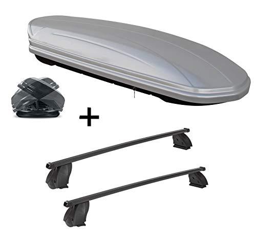 Dachbox VDPMAA580 580 Liter Duo beidseitig aufklappbar Silber + Dachträger K1 MEDIUM kompatibel mit FIAT Scudo -06