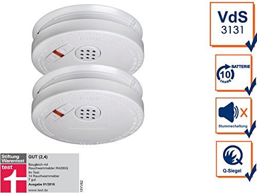 2er SET Rauchmelder mit 10 Jahres Lithium Batterie - VDS Zertifiziert & Q-Siegel für höchste...