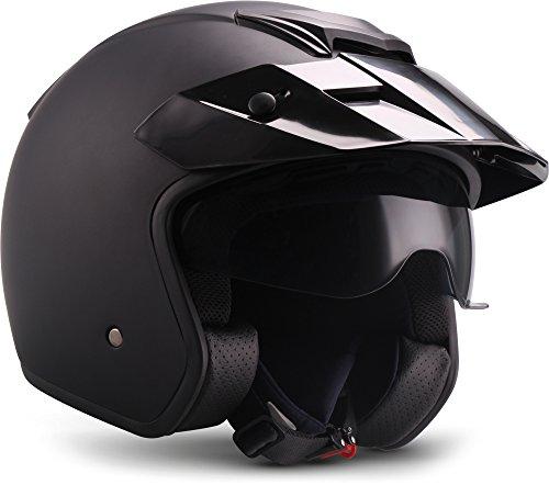 "Soxon® S77 ""Matt Black"" · Jet-Helm · Motorrad-Helm Roller-Helm Scooter-Helm Bobber Mofa-Helm Chopper Retro Cruiser Vintage Pilot Biker · ECE Visier Schnellverschluss SlimShell Tasche XL (61-62cm)"