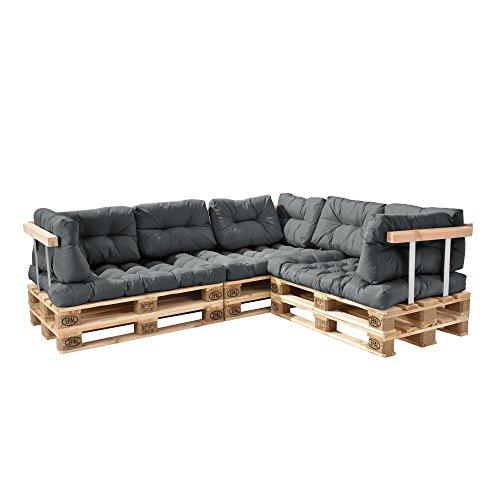 [en.casa] Palettenkissen - 11-teilig - Sitzpolster + Rückenkissen [hellgrau] Paletten-Sofa In/Outdoor - 2