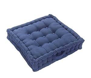 Homescapes Coussin rehausseur bleu pour chaise ou fauteuil (50 x 50 x 10 cm). Coton 100 %