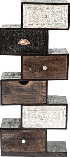 Kare Hochkommode Finca Zick Zack, 80183, schmale, moderne Kommoden mit 6 Schubladen und handgeschnitzten Fronten, braun-weiß (H/B/T) 115x50x30cm (Kommode Schubladen 6 Möbel Mit)
