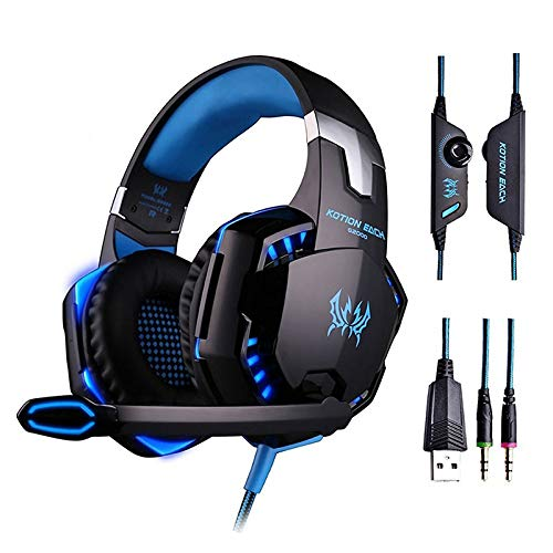 Zantec Gaming Video Headset 3,5 mm Mic LED Stereo für PS3 PS4 Xbox One Switch Handy iPad Computer Nero Blu (Blu-handys)