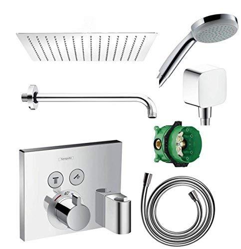 Hansgrohe Shower Select mit Fixfit Thermostat Unterputz Duscharmaturenset Duschteller 30cm
