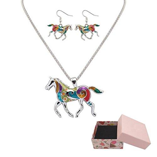 Frauen-Schmucksache-Öl-Tropfenfänger-Regenbogen-Pferd-hängende Halsketten-Ohrringe eingestellt