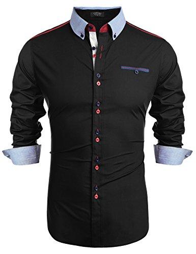 Burlady Herren Freizeithemd Männer Langarmshirt Slim Fit mit Brusttasche Schwarz XL