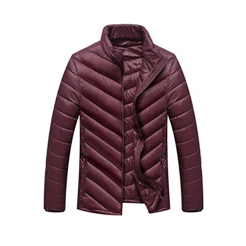 Baumwolljacke Herren, DoraMe Männer Warmen Stehkragen Dünnes Herbst Wintermantel Zip Gute Qualität Outwear Feste Farbe Jacke (Rot, L)