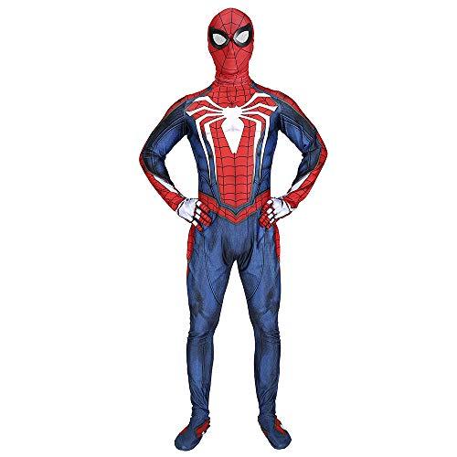 Strampelanzug Spiderman Kostüm - Strampelanzug Karneval Kostüm Karneval Kostüm PS4 Spiel Spider-Man Cosplay Halloween Druck Hoodie Outfit,Blue-XXXL