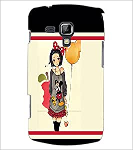 PrintDhaba Girl with Balloon D-1301 Back Case Cover for SAMSUNG GALAXY S DUOS 2 S7582 (Multi-Coloured)