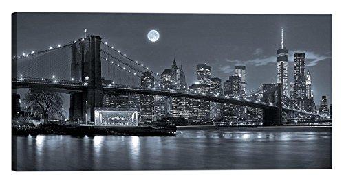 stampa quadro su tela con telaio New York Brooklyn con applicazione di swarovski 120x60 cm
