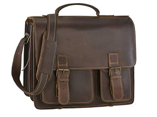 Greenburry Aktentasche Damen Herren Buffalo XL braun Aktenmappe 2 Fächer mit Lederpflegeset -