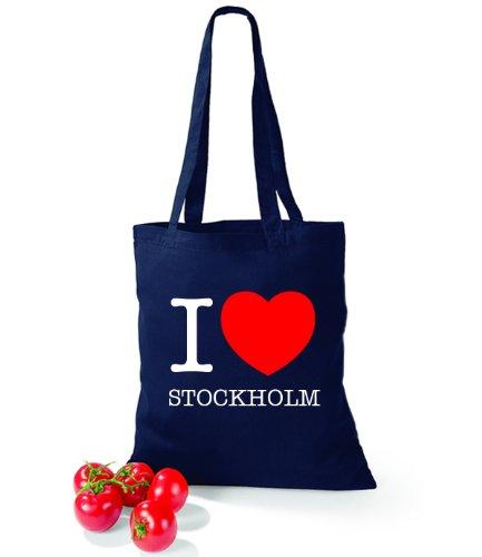 Artdiktat Baumwolltasche I love Stockholm French Navy