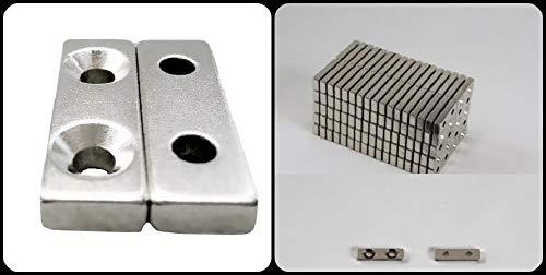 10 NEODYM QUADER MAGNETE Paarweise angeordnet 30x10x5 mm mit 2x Senkung 4,5 mm BOHRUNG SENKUNG N45 7 KG VERSCHRAUBEN HAUSHALT - Paarweise