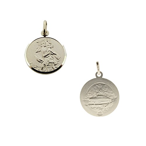 CJoL - Solid 925 Sterling Silver Boys Reversible 12mm Round St Christopher Pendant With Optional Chain In Gift Box