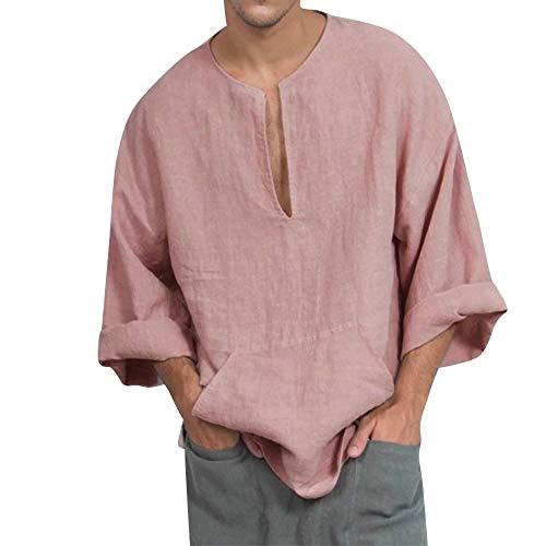 Oliviavan, Baumwolle und Leinen Herren Langarm Shirt Top Bluse Retro Einfacher Herren Baumwolle Leinen lose Feste Langarm Kaft Thai Top Shirt Pullover ()