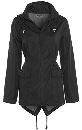 SS7 Damen Regenmantel, Burgund, Marineblau, sizes 8 to 16 - Schwarz, 38 - Wasserabweisend mit Fischschwanz - abnehmbare Kapuze Regenmantel - leicht Regenmantel - wasserabweisend Hülle - 100% Polyester - 2 tiefe Taschen vorne