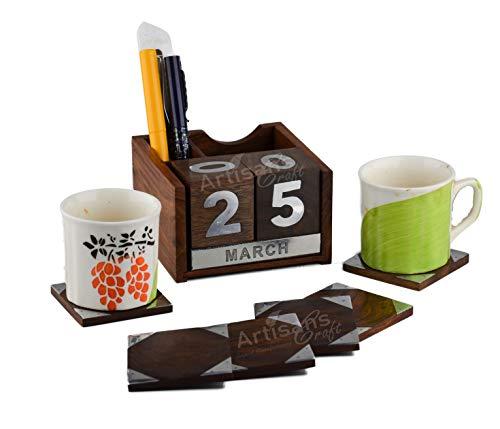 Gestaltet Craft-handgefertigt Dekorative Rosenholz Kalender-Never Ending, Home Decor Büro Holz Kalender Stifthalter Handarbeit Schreibtisch Organisatoren (natur, braun) Large