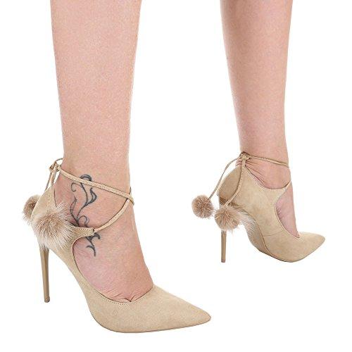 High Heel Damenschuhe Plateau Pfennig-/Stilettoabsatz High Heels Schnürsenkel Ital-Design Pumps Beige