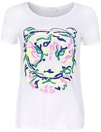T-shirt blanc imprimé tête de tigre