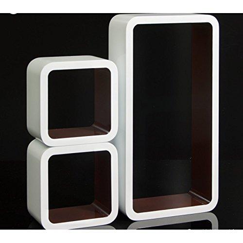 Set de 3 étagères murales cube meuble rangement blanc et marron ETA06054