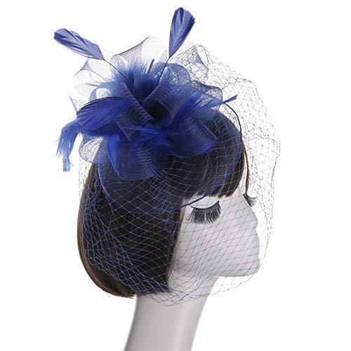 Likecrazy Damen Hut Fascinators Hüte Elegante Blumen Cocktail Headwear Feather Kopfband mit Federn Mode Kopfband Flapper Accessoires Kopfbedeckungen Damen