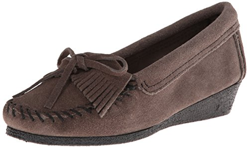 Minnetonka Kilty Wedge Damen Mokassin Grau (Grey)