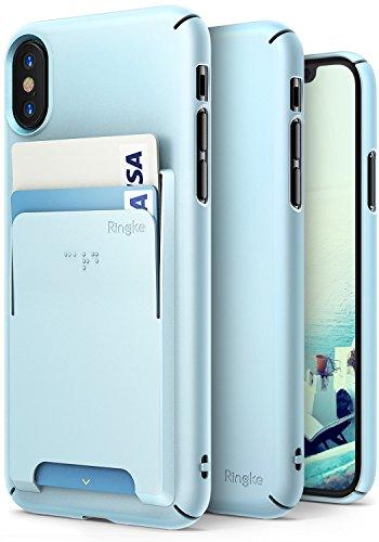 iPhone X Hülle, [Value Accessory Kit] Ringke SLIM Superior Schlank [Kostenlos Wallet Slot Attachment] Präzise Kontur Leicht & Nobel Modisch Case Cover für Apple iPhoneX 2017 - Pfirsich Rosa Sky Blue