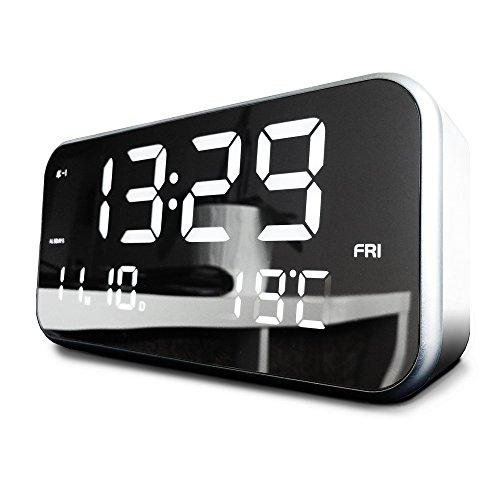 LED Musik Alarm Uhr Mit Großem XL Display (⤢22cm) | Automatische Helligkeit  Anpassung | 25 Wecker Melodien | Memory Funktion | Datum Und Temperatur  Anzeige ...