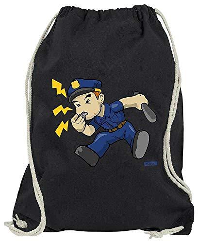 Im Kostüm Linken Einfach Auge - HARIZ Turnbeutel Polizist Trillerpfeife Laut Polizei Lustig Plus Geschenkkarte Schwarz One Size