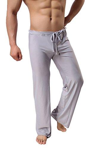 Herren Schlafanzug Hose Freizeithose Jogginghose Unterwäsche Pant Männer Pyjamahose Grau S-XXL Neu (S)
