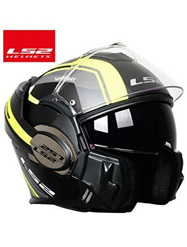 3V7P0O Fashion Full Face Motorradhelm Flip Up Dual Visier Authentic Brille, gelb mutig